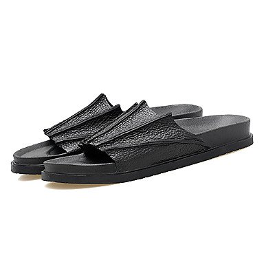 Slippers & amp da uomo;PU Estate Outdoor casual piani del tallone sandali neri Brown sandali US11.5 / EU45 / UK10.5 / CN47
