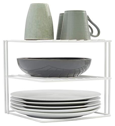simplywire - Supporto per piatti- Organizer per armadi da cucina - quadrato a 3 ripiani - bianco