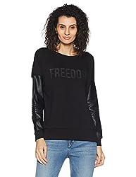 United Colors of Benetton Womens Cotton Sweatshirt (17A3IE0E1G90G_Black_XS)