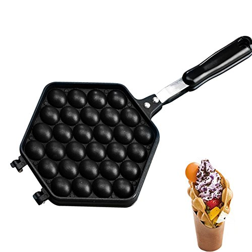 kaikki Gofrera Bubble Waffle Maker con Empuñadura Anti Escaldante, Máquina De Hacer Gofres Antiadherente Sartén De Presión De Hierro De Doble Cara para La Cocina del Hogar, Negro