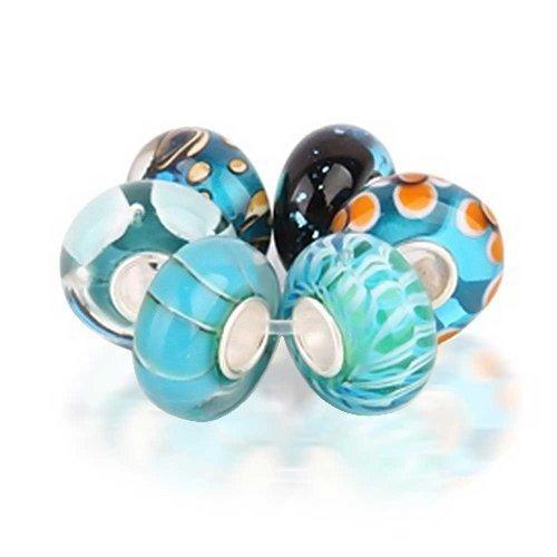 Bling Jewelry Hellblau Murano Glas Satz Von 6 Sterling Silber Distanzstück Passt Europäischen Bead Charms Armbänd Für Damen Jugendlich -