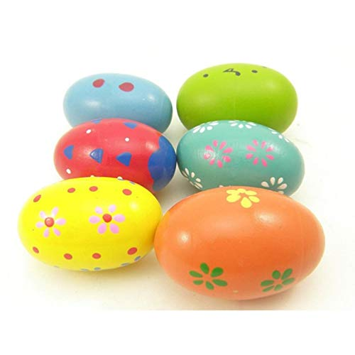 Maracas Egg - Wooden Music Egg, Kids Colorful Early Educational Percussion Musical Toys, by Fiona (8 PCS)