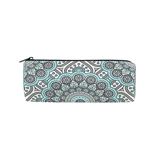 Indisches Mandala Psychedelic Grey Henna Federmäppchen Pen Pounch Bag with Zipper Boy Girl Teen Women College School Writing Supplies Round Homecoming - Indische Mop