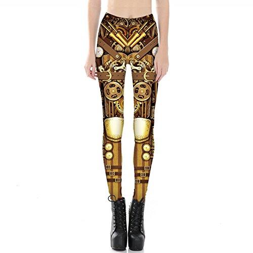 Jiayiqi Frauen Glänzende Goldene Leggins Mechanical Engineering Yoga Leggings Hosen Strumpfhosen