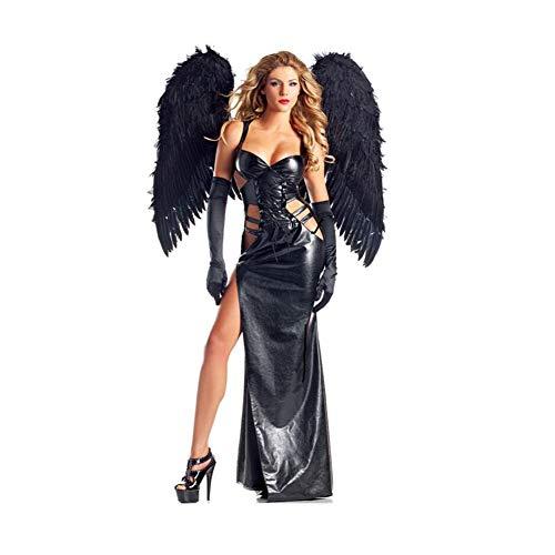 YaXuan Rollenspiel Dämon Dark Angel Kostüm Halloween-Kostüm PU-Leder -