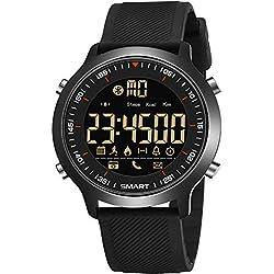 Montre NuméRique Homme, IP68 Sports éTanche Multifonctions éLectrique Fitness Tracker Bluetooth Notification D'Appel SMS PodomèTre Calorie TéLéCommande CaméRa Acier Inoxydable Sangle Smartwatch