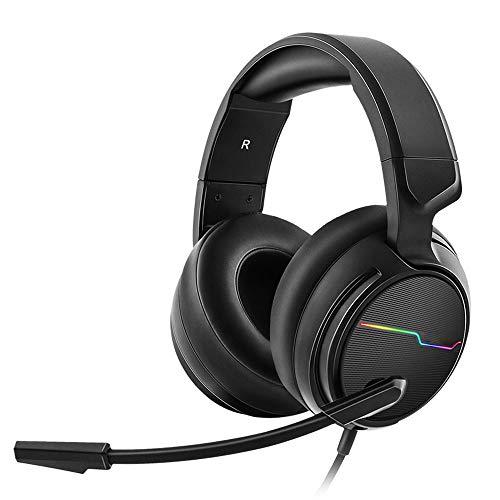 LHTE Kopfhörer, Headsets mit Kabel, mit Weizen Hohe Klangqualität Hören auf die Stimme Schall Bass Dient zum Spielen Spielen und Singen Schwarz,MobileVersion
