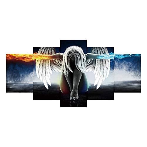 Broadroot Engel Flügel 5D DIY Vollbohrer Diamant Malerei 5-Bilder Kombination Handwerk Kreuzstich Kit Stickerei Wohnkultur Geschenk (Flügel Diy Engel)