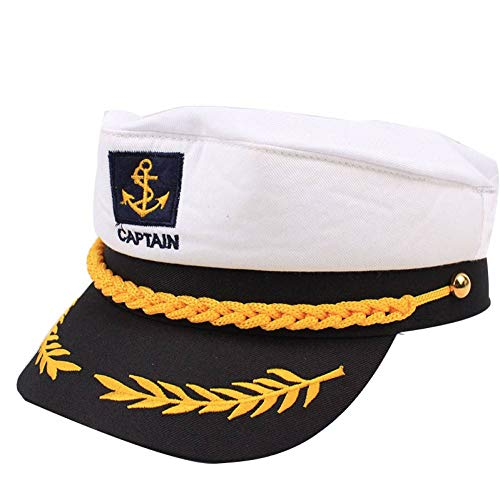 Hut Kostüm Tourist - JJJRMP Vintage Sailor Cap Kapitän Flat Top Militär Hut Party Phantasie Cosplayer Zubehör