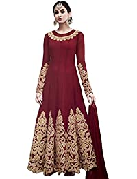 MONIKA SILK MILL Women's Georgette Embroidery Semi-Stitched Anarkali Suit with Dupatta (Red, Free Size)