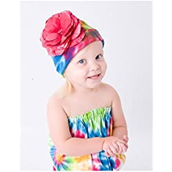 Rainbow Tie Dye Hat with Raspberry Large Rose, Size: 4-6y