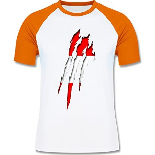 Shirtracer Länder - Österreich Krallenspuren - Herren Baseball Shirt Weiß/Orange