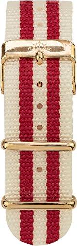 Sailor Damen Herren Nylon Armband Negril rot-weiß BSL101-2002-20, Breite Armband:20mm (normal), Farb