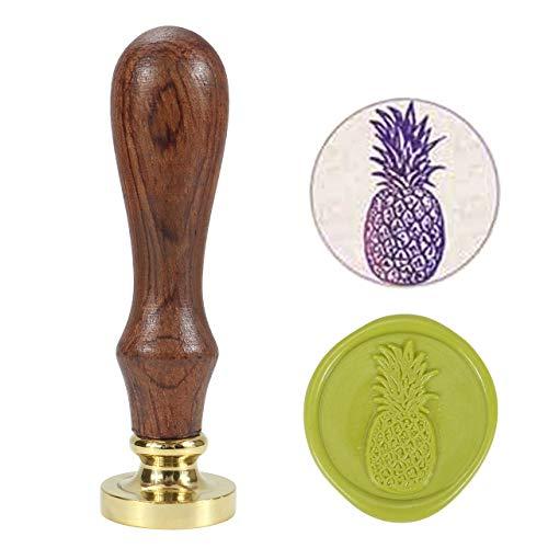 Blatt Wachs-siegel (Mogokoyo Vintage-Stil Pflanzen-Serie Rosenholz Wachs Siegelstempel Dekorativer Siegel Petschaft Holzgriff Brief mit verschidene Gravur (Ananas #1))