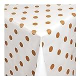 Wachstuch Tischdecke Wachstischdecke Gartentischdecke, Abwaschbar Meterware, Länge wählbar,Bronze farbene Punkte auf weißem Untergrund (039-03) 100cm x 140cm