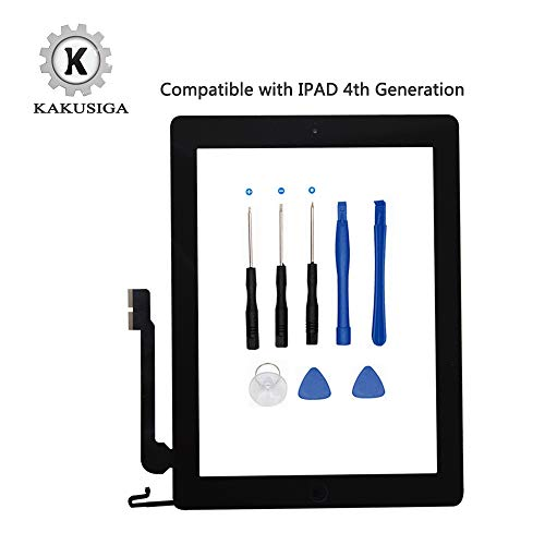 kakusiga für iPad Air (5. Generation) Ersatz Touch Screen Glas Digitizer, Home Button Flex, Klebeband, Displayschutzfolie und Repair Tools Kit schwarz iPad 4 Black - Ipad 4-screen-ersatz Air