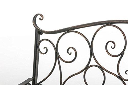CLP Metall Gartenbank TUAN, 2-er Sitz-Bank Garten, Eisen lackiert, Design nostalgisch antik, 105 x 50 cm Bronze - 4