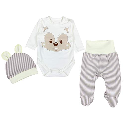 TupTam Baby Unisex Bekleidungsset mit Aufdruck 3 TLG, Farbe: Fuchs Beige, Größe: 62