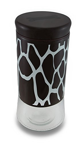 Marrone e bianco Giraffe stampa Pampered Pooch vetro Pet Treat Jar W/Lid