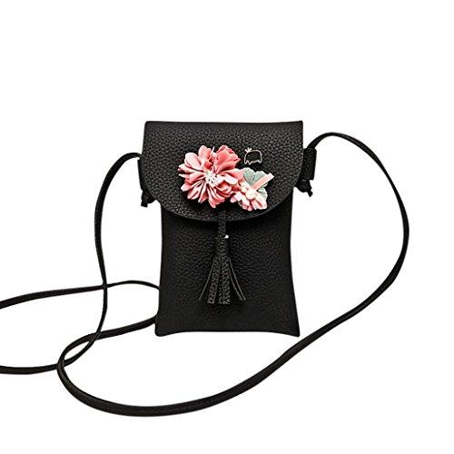 OHQ Sac De TéLéPhone Fleur Noir Gris Rose Bleu Femmes Applique Floral Mini à Main BandoulièRe Messenger Bag Purse A Bandoulieres Pas Cher Marque Desigual Cuir Guess Langer (Noir)