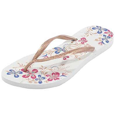Havaianas Slim Season White/Rose Gold Flip Flops - UK 8 - BR 41/42