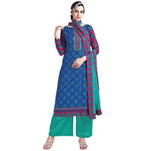SHELINA women blue glace cotton embroidered partywear dress material