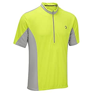 Tenn-Outdoors Men's Coolflo Breathable Hi Viz Short Sleeve Cycling Jersey - Yellow/grey, 38-40 Inch (Small)