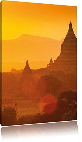 Buddha Tempel im Sonnenuntergang , Format: 60x80 auf hochkantiges Leinwand, XXL riesige Bilder fertig gerahmt mit Keilrahmen, Kunstdruck auf Wandbild mit Rahmen, günstiger als Gemälde oder Ölbild, kein Poster oder Plakat
