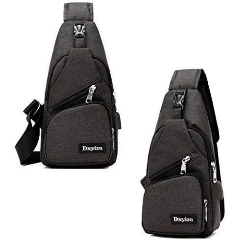 ACMEDE Sling Bag con porta USB di ricarica,antifurto spalla Crossbody petto Zaino Borsa Casual Daybacks per il camping hiking viaggio Nero