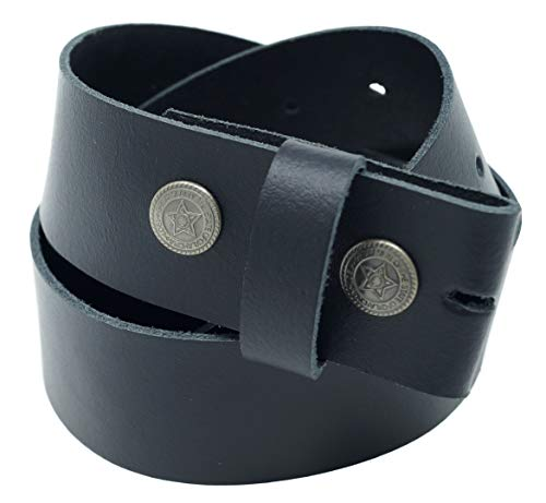 Xeira  Cinturón de cuero genuino - Hebilla intercambiable/correa a presión Reg; - Hecho en Alemania/Disponible en negro/marrón/naranja/verde/blanco (125cm, Negro)