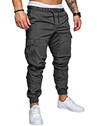 Alician Men Casual Multi Pocket Long Trousers Sports Ankle Banded Pants Birthday Festival Gift