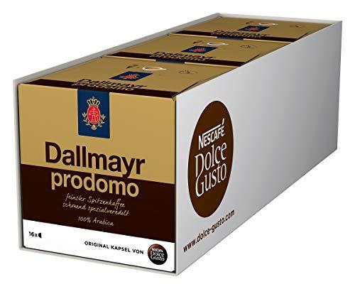 NESCAFÉ Dolce Gusto Dallmayr Prodomo | 48 Kaffeekapseln | Spitzenqualität für einen vollaromatischen Geschmack | 100{c1e3439c2902775e28b555e2ebe620069fa970438b21d64af9bbb59828240e80} Arabica-Bohnen | Aromaversiegelte Kapseln | 3er Pack (3 x 16 Kapseln)