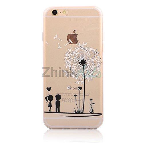 Handy Hülle mit Motiv Case Cover Silikon Schutzhülle TPU von ZhinkArts für Apple iPhone 7 Pusteblume Weiß M14 Kinder M2