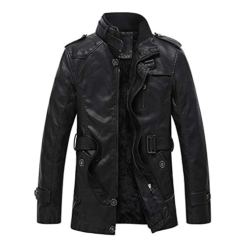 Kanpola Herren Jacke Übergangsjacke Teddy Fleece Winterjacke Outdoorjacken Steppjacke Bomberjacke Outdoor Winter Verdickte Kunstleder...