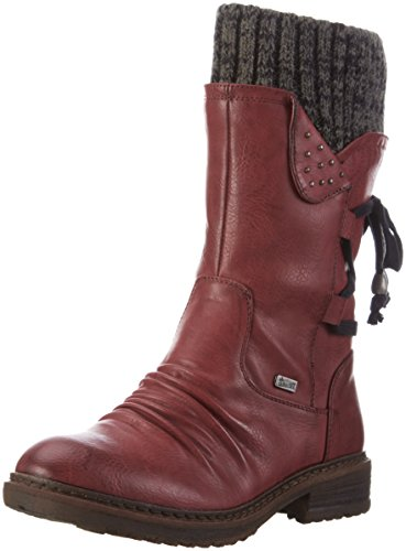 Rieker 94773 Damen Halbschaft Stiefel, rot (wine/black-grey/35), 40