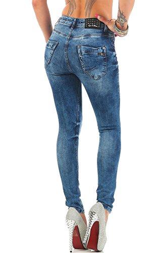 Cipo & Baxx Damen Jeans Freizeit Hose High-Waist Slim-Fit Blau