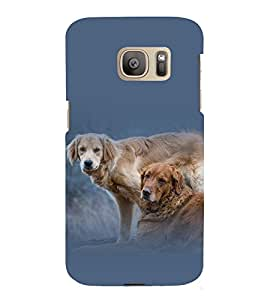 printtech Cute Dog Couple Back Case Cover for Samsung Galaxy S7 / Samsung Galaxy S7 Duos with dual-SIM card slots