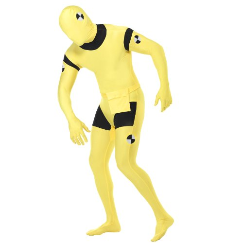 Spiderman Bodysuit Kostüm (Second Skin Costume - Unisex Ganzkörper Anzug mit Bauchtasche - Gelb / Schwarz - Motiv: Crash Test Dummy - Gr. M)