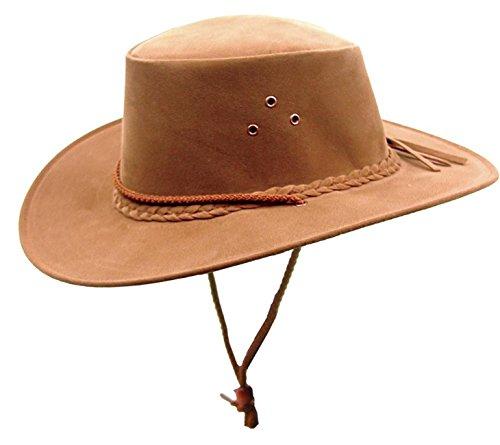 Kakadu Traders Australia Kinder Microfaser-Hut Cowboy-Hut in Rostbraun mit Hutfangband, Kinnband und geschwungener ()