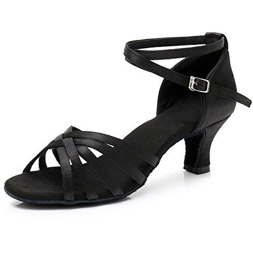 Xiaoy ballo latino per donna scarpe attraversare cinturino alla caviglia fibbia sala da banchetto,blackdanceshoes,34