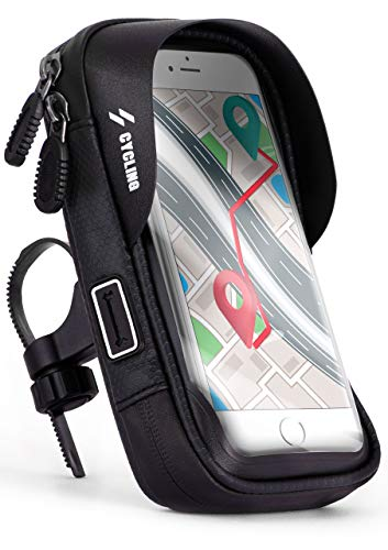 ONEFLOW® Wasserfeste Lenkertasche mit bedienbarem Sichtfenster für alle Samsung Serien | Inkl. Kabelöffnung + Sonnenvisier und Karten- + Geldfach, Schwarz -
