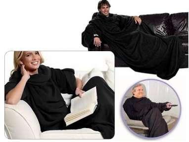 Batamanta manta para sofa con mangas y con bolsillo │ Pijama Bata manta Azul ®