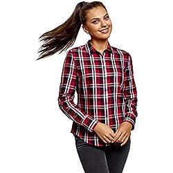 oodji Ultra Mujer Camisa Básica a Cuadros, Rojo, ES 42 / L
