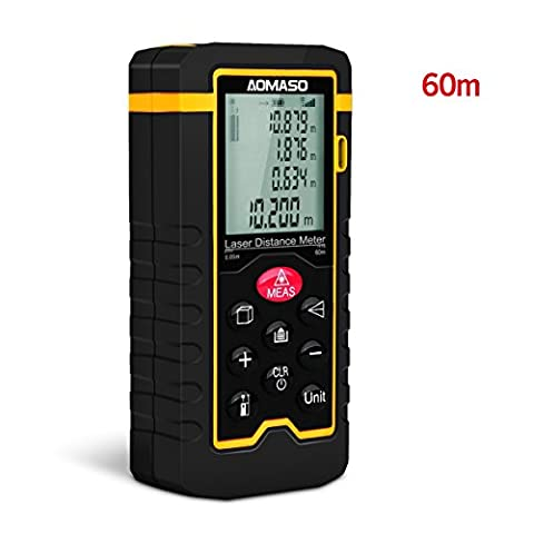 High Precision Handheld Laser Distance Meter 60m , Aomaso Digital Laser Tape Measure (Measuring Range 0.05 ~ 60m / ± 1.5mm with LCD Backlight, Dust And IP54) Incl For Volume/Area/Pythagorean/Continuous Measurement