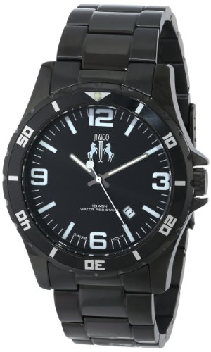 JIVAGO MEN'S 47MM BLACK STEEL BRACELET & CASE SWISS QUARTZ ANALOG WATCH JV6110