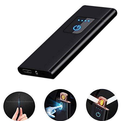 LayOPO - Mechero Recargable USB con Huella Dactilar, 0,15 Pulgadas, Ultrafino, portátil, eléctrico, Resistente al Viento, Encendedor de Plasma sin Llama para Cigarrillos, Velas, Helles Schwarz