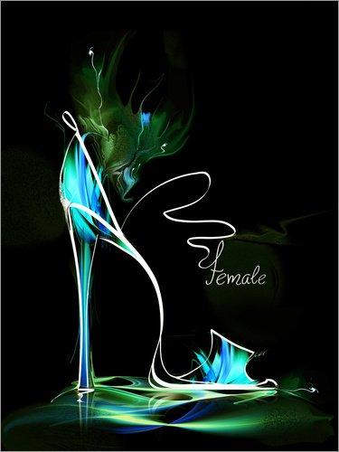 Posterlounge Leinwandbild 120 x 160 cm: Leuchtender High Heel von Editors Choice - fertiges Wandbild, Bild auf Keilrahmen, Fertigbild auf echter Leinwand, Leinwanddruck High-heel-editor