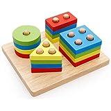 World Fitness Children 's educational toys four sets of geometric shapes pillars building blocks, MULTI COLOR, 6285849006008