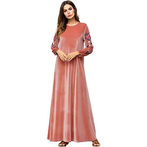 QAQBDBCKL Velour Muslim Abaya Kleid Stickerei Frauen Maxi Langes Kleid Dubai Türkei Arabische Roben -