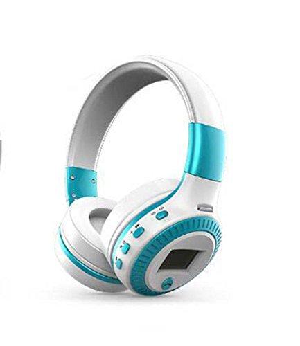 Yjrong Drahtlos Faltbares Über-Ohr-Hi-Fi-Stereo-Headset mit CVC 6.0 Geräusch-Abbruch Mikrofon, Kabelgebundene und Drahtlose Kopfhörer, Zum Training, Laufen, Joggen, Fitness,Whiteblue